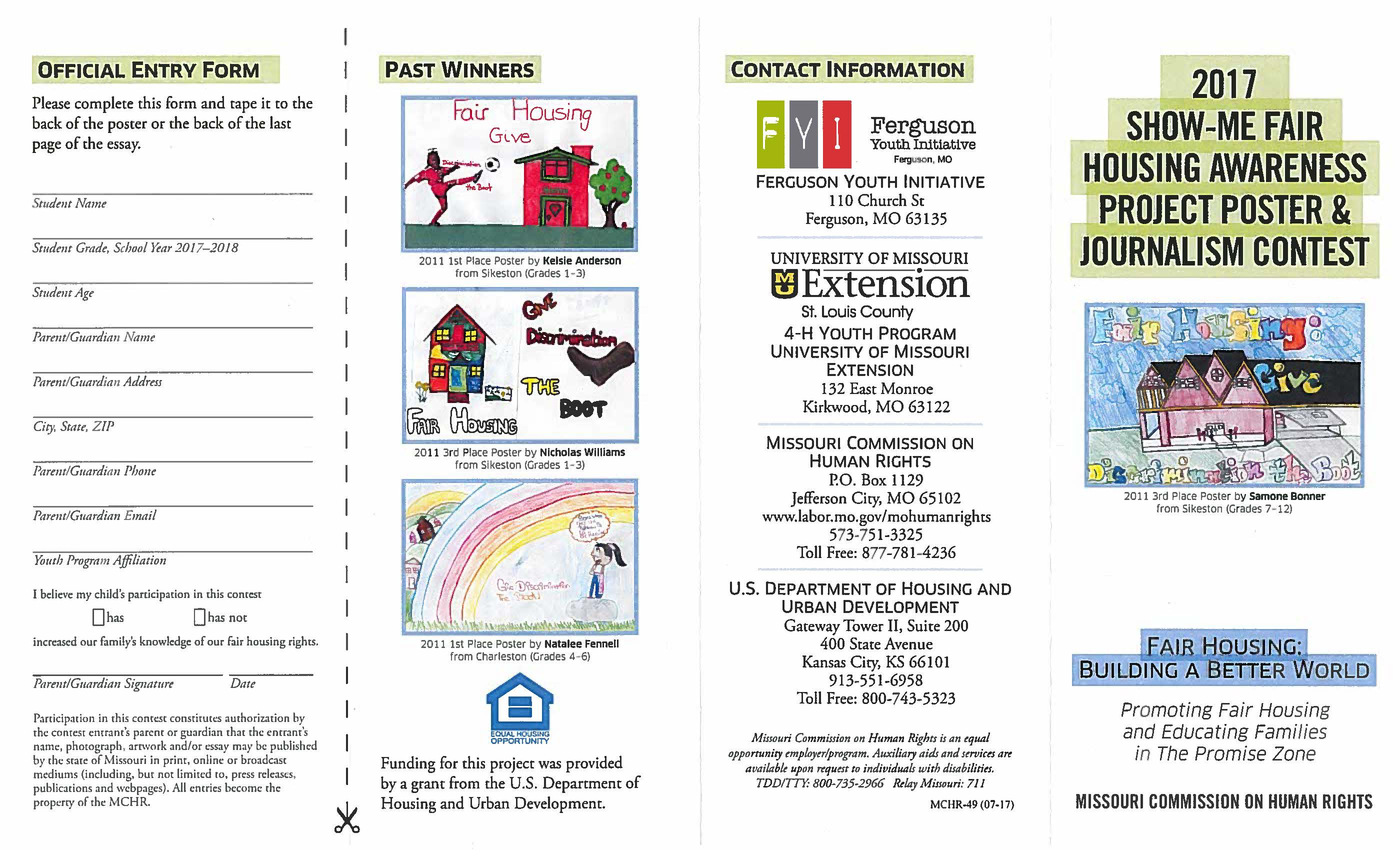 2017 Show-Me Fair Housing Awareness Project Poster & Journalism Contest